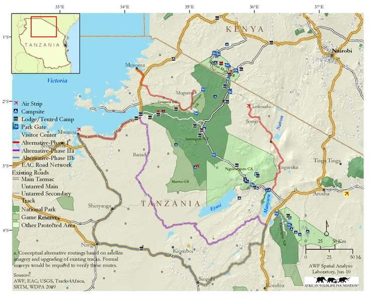 Map  showing  alternative  route  for  highway link between Arusha and Musoma, north of  Serengeti.  (©African  Wildlife Foundation)