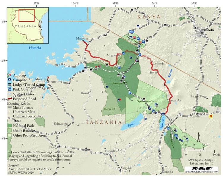 Map showing planned new road between Arusha and  Musoma, through Serengeti. (©African Wildlife Foundation)