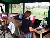Joyce, desk in tent research camp Amboseli