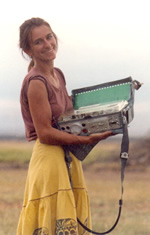 Joyce Poole with new Nagra tape recorder in 1987. (Copyright: ElephantVoices)