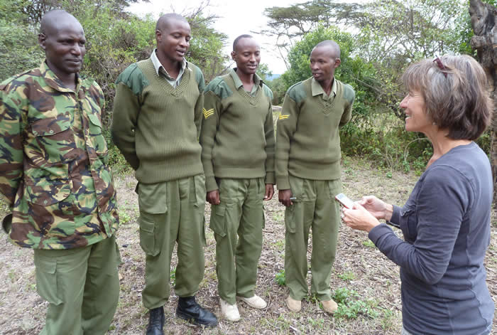Scouts from the Mara Elephant Project and Mara North Conservancy being trained in the use of ElephantVoices Mara EleApp. (©ElephantVoices)
