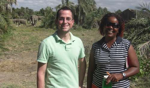 Blake Murray and Norah Njiraini in the Amboseli Elephant Research camp. (©ElephantVoices)