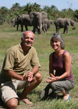 Joyce and Petter in Amboseli Research Camp.