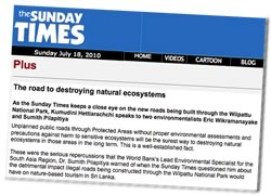 Screenshot the Sunday Times, Sri Lanka