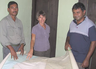 Mohamed,  Joyce and Lalith in Yala East September 2003 - one of the areas that  encountered the destructive forces of the Tsunami. (©ElephantVoices)