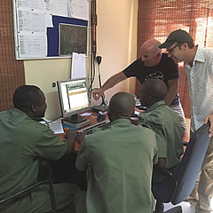 Training Command Room rangers in the use of the Gorongosa Elephants Whos Who and Whereabouts Databases. ©ElephantVoices.
