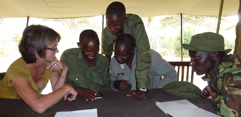 Meeting up with scouts in the Mara Elephant Project, introducing them to the Mara EleApp. (©ElephantVoices)