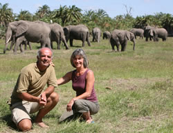 Joyce Poole and Petter Granli in Amboseli Elephant Research Camp. (©ElephantVoices)
