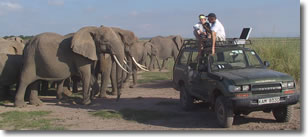 Blake and Petter with the BBs in Amboseli in May  2003.