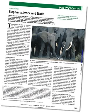 Science Opinion Piece 12. March 2010: Elephants, Ivory, and Trade
